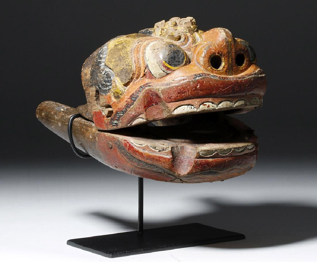 18th C. Indonesian Painted Wood Puppet, Hinged Mouth - 4
