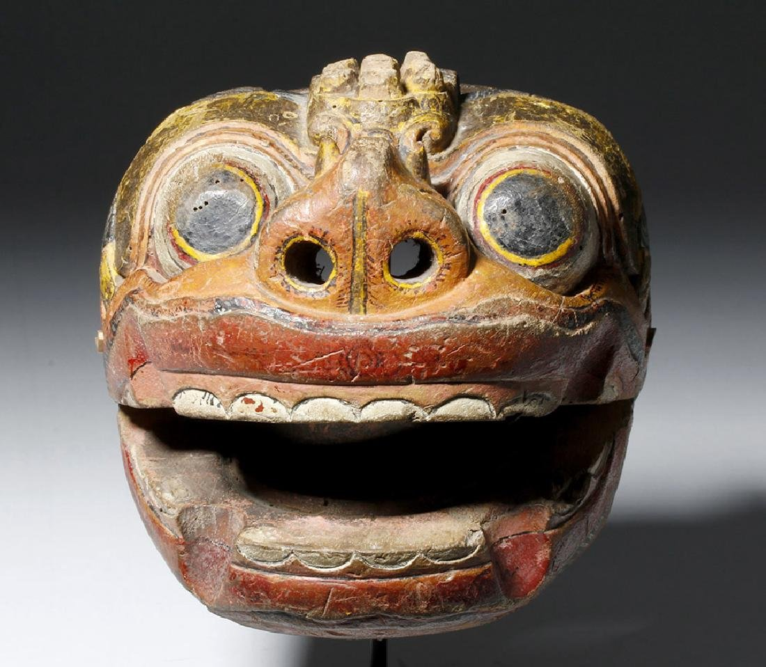 18th C. Indonesian Painted Wood Puppet, Hinged Mouth - 5