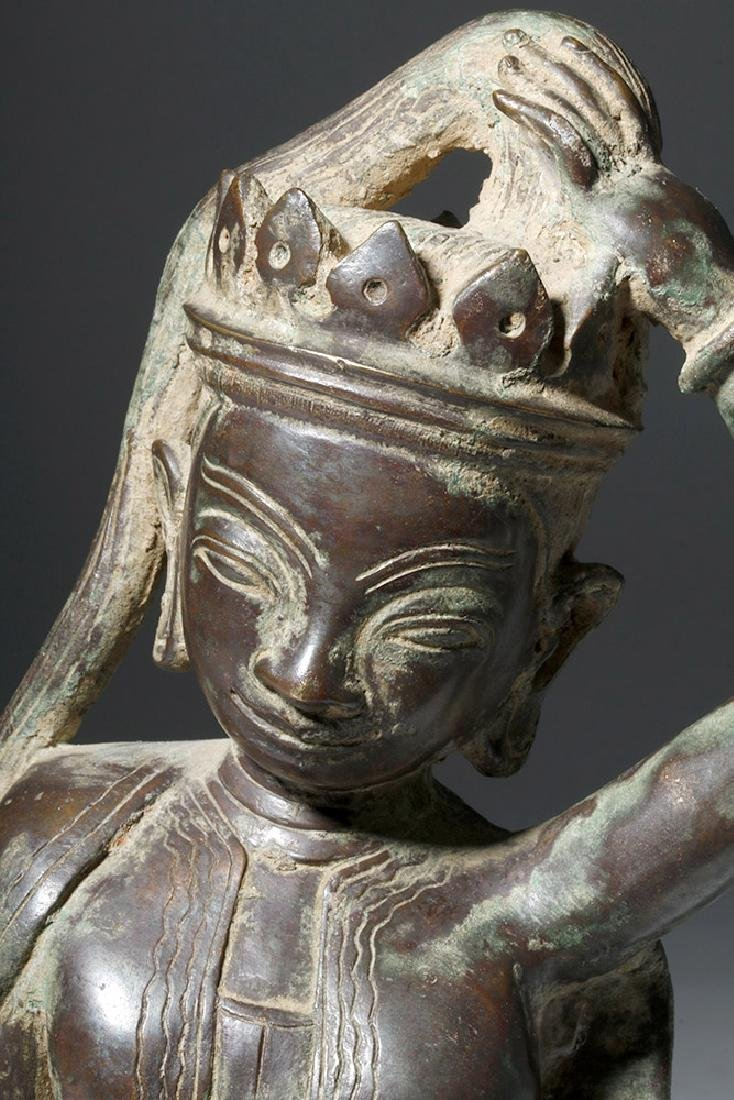 Early 20th C. Thai Bronze Statue - Goddess Thorani - 5