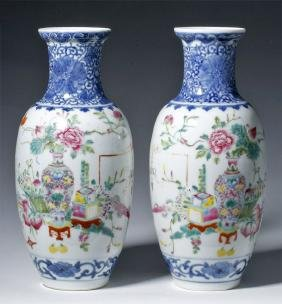 19th C. Chinese Qing Dynasty Vases - Famille Rose (pr)