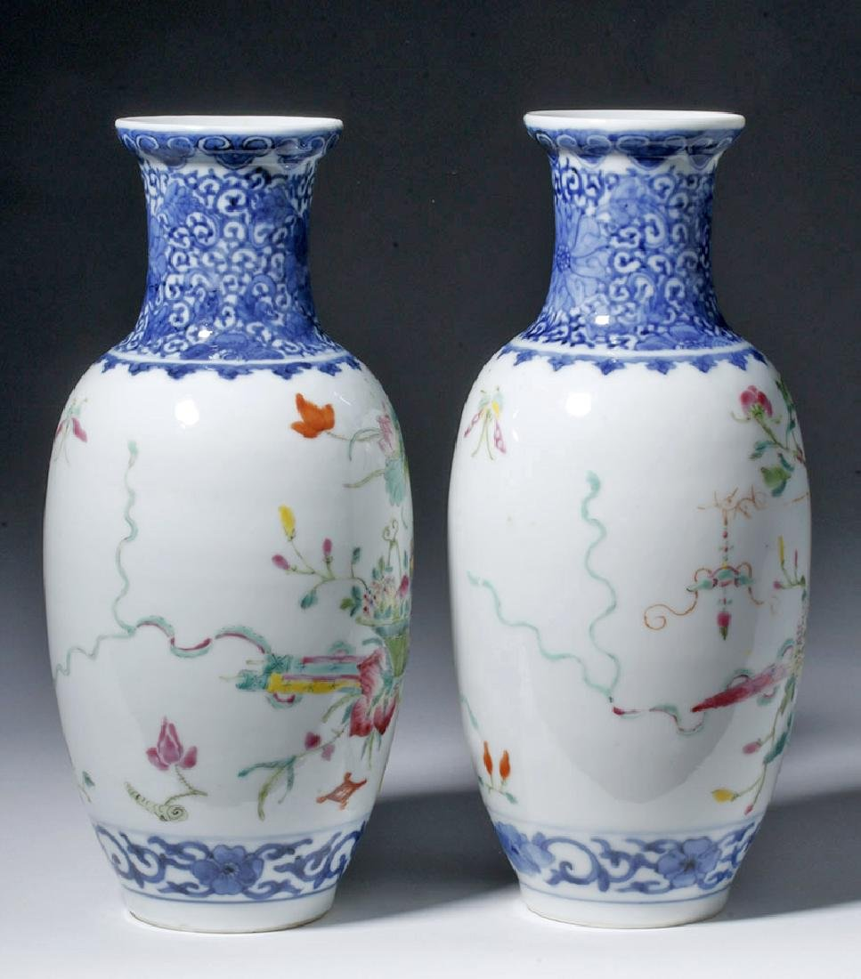 19th C. Chinese Qing Dynasty Vases - Famille Rose (pr) - 2