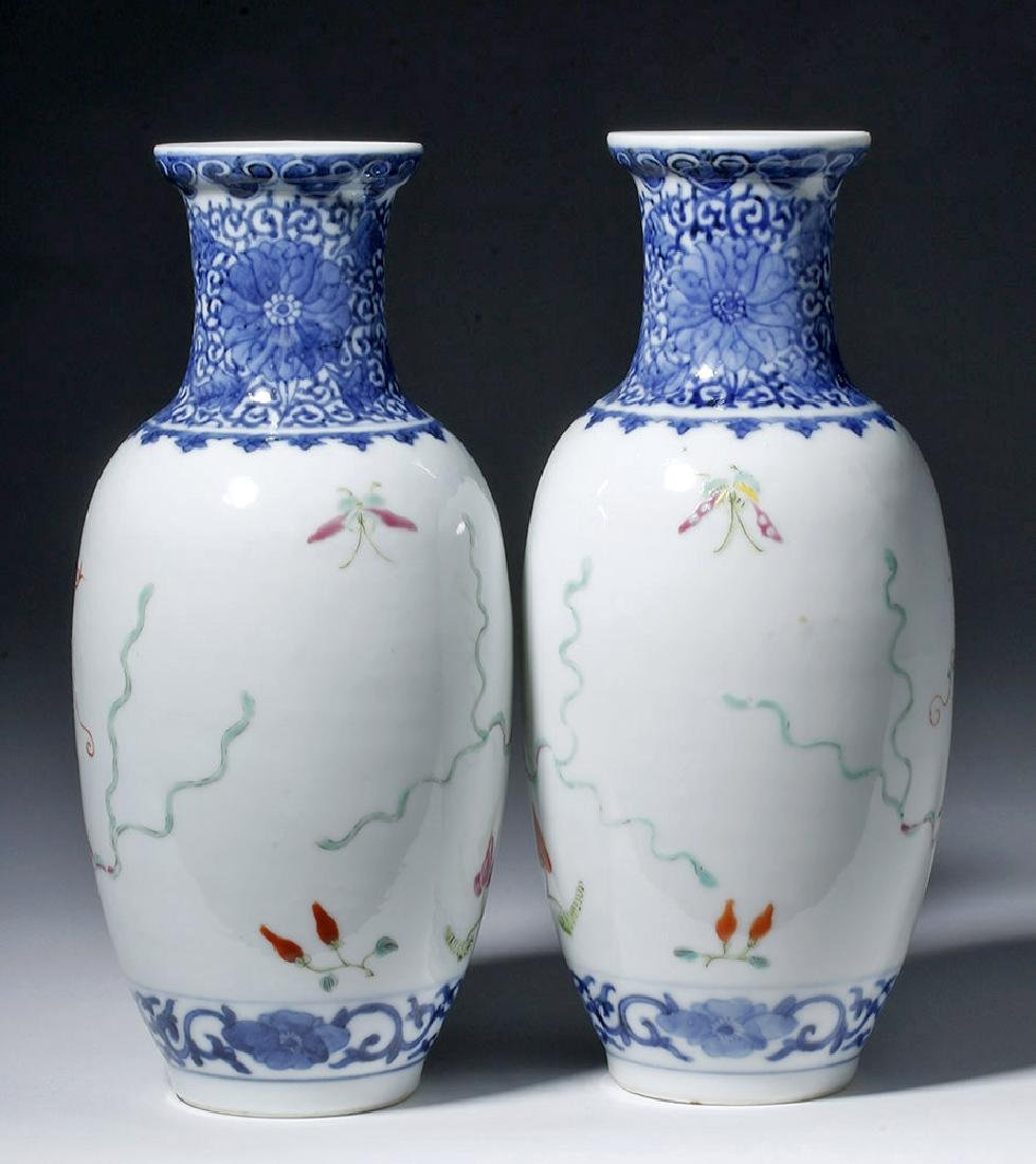 19th C. Chinese Qing Dynasty Vases - Famille Rose (pr) - 3