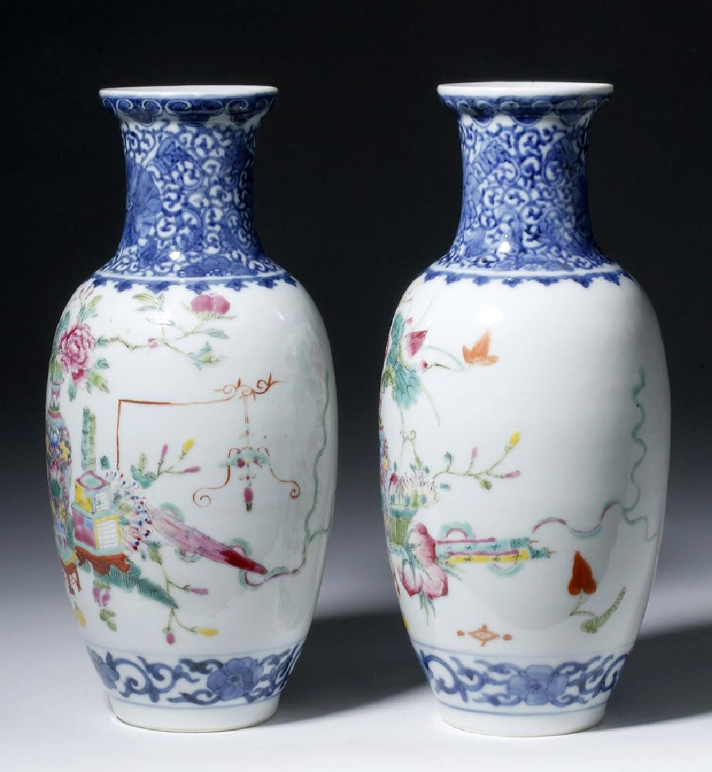 19th C. Chinese Qing Dynasty Vases - Famille Rose (pr) - 4