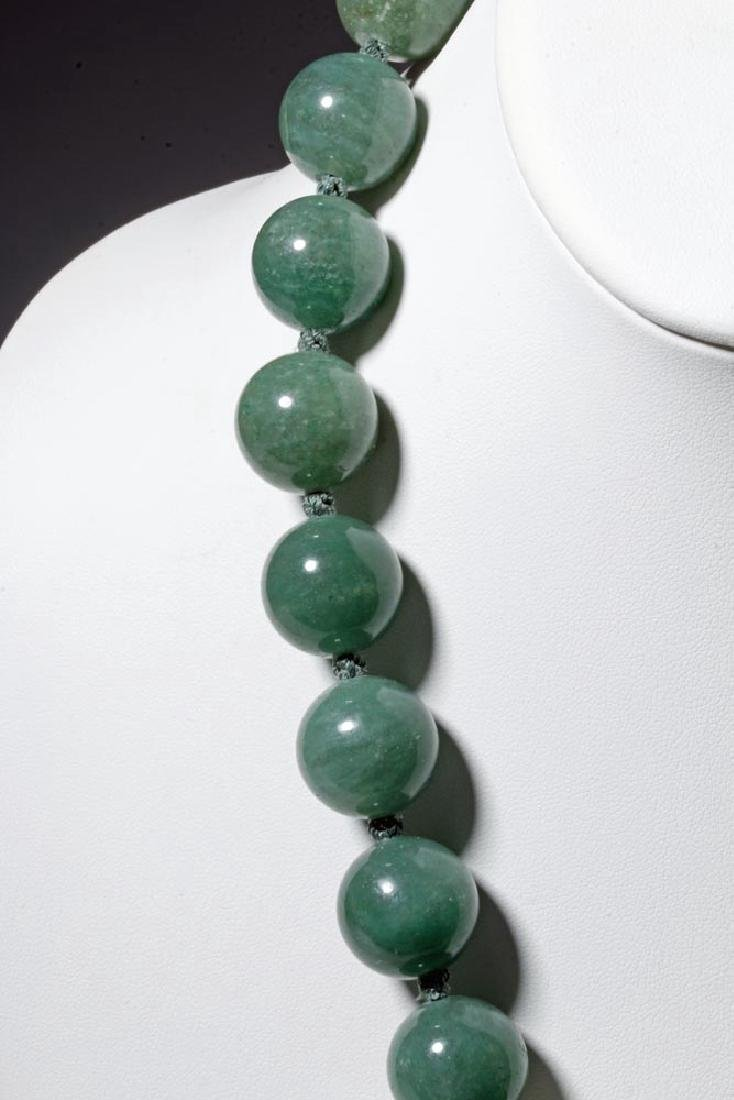 Chinese Jade / Aventurine Quartz Bead Necklace - 3