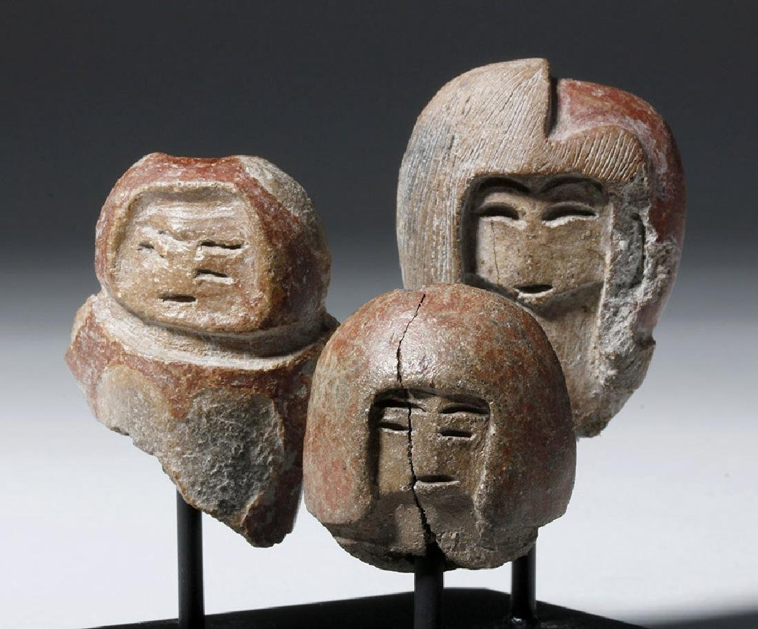 Group of 3 Valdivian Pottery Venus Heads