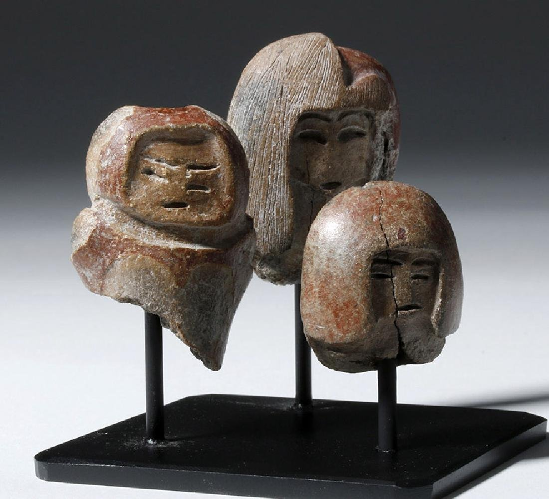 Group of 3 Valdivian Pottery Venus Heads - 4