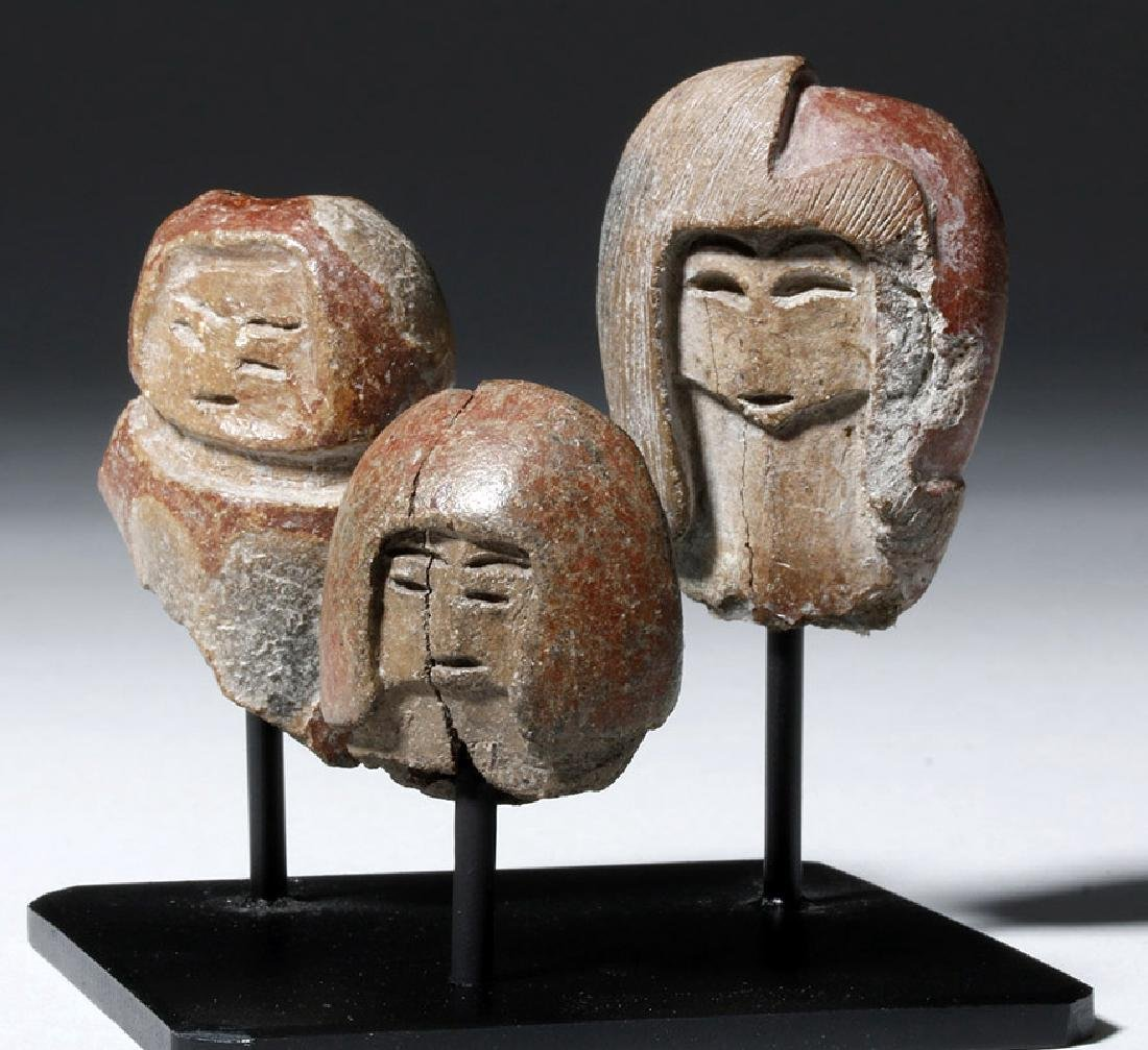 Group of 3 Valdivian Pottery Venus Heads - 5
