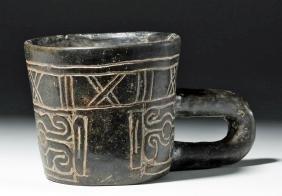 Olmec Incised Blackware Handled Cup