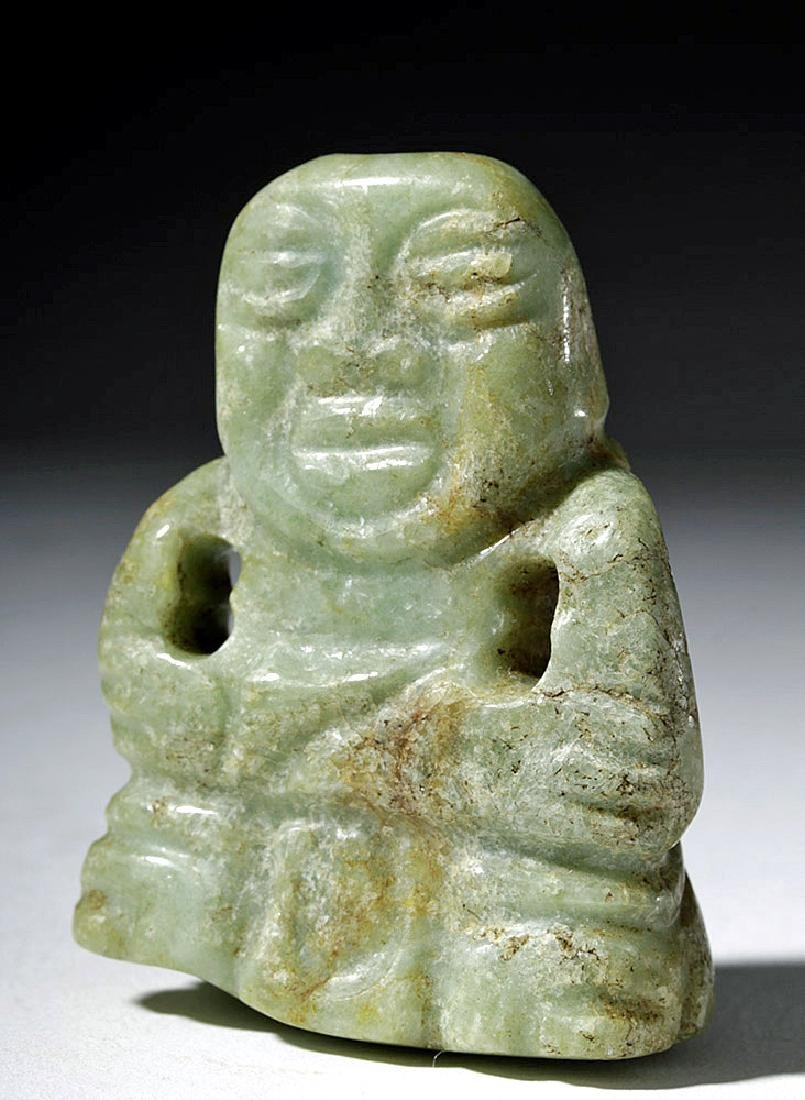 Late Olmec / Early Maya Green Jade Figural Pendant