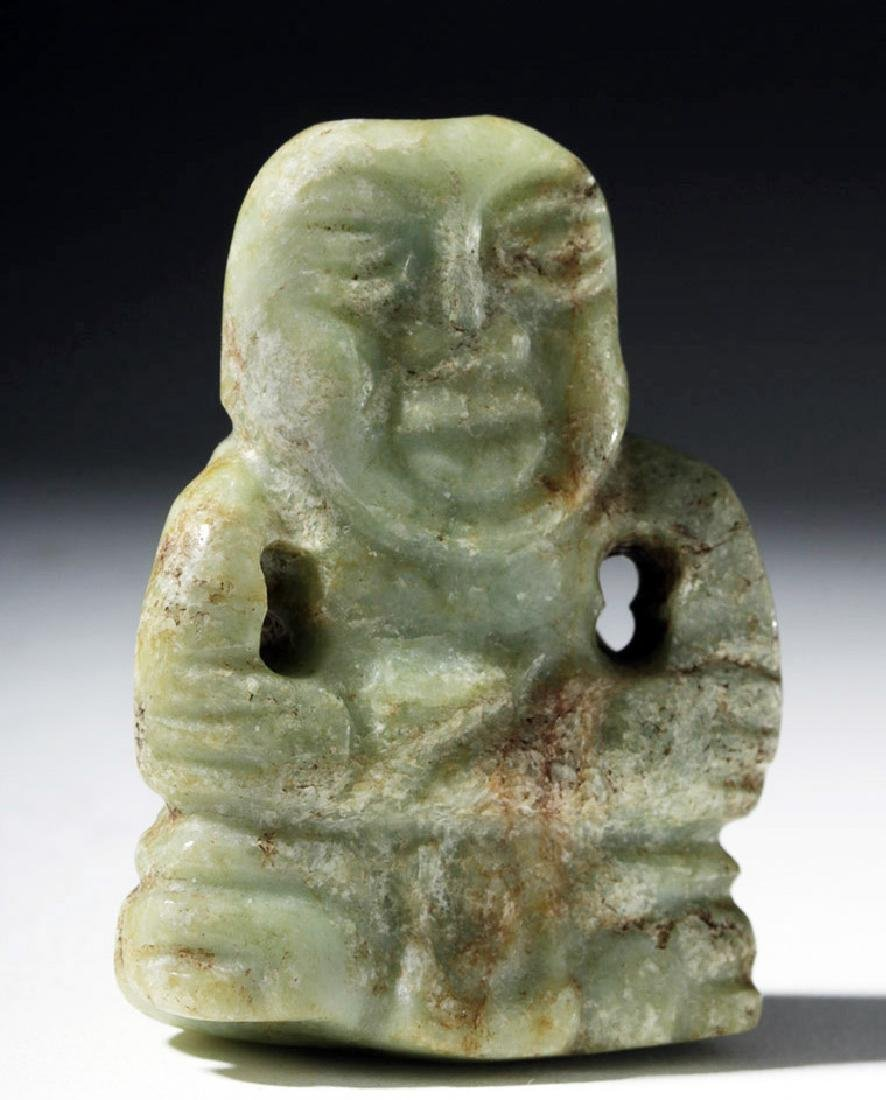 Late Olmec / Early Maya Green Jade Figural Pendant - 3