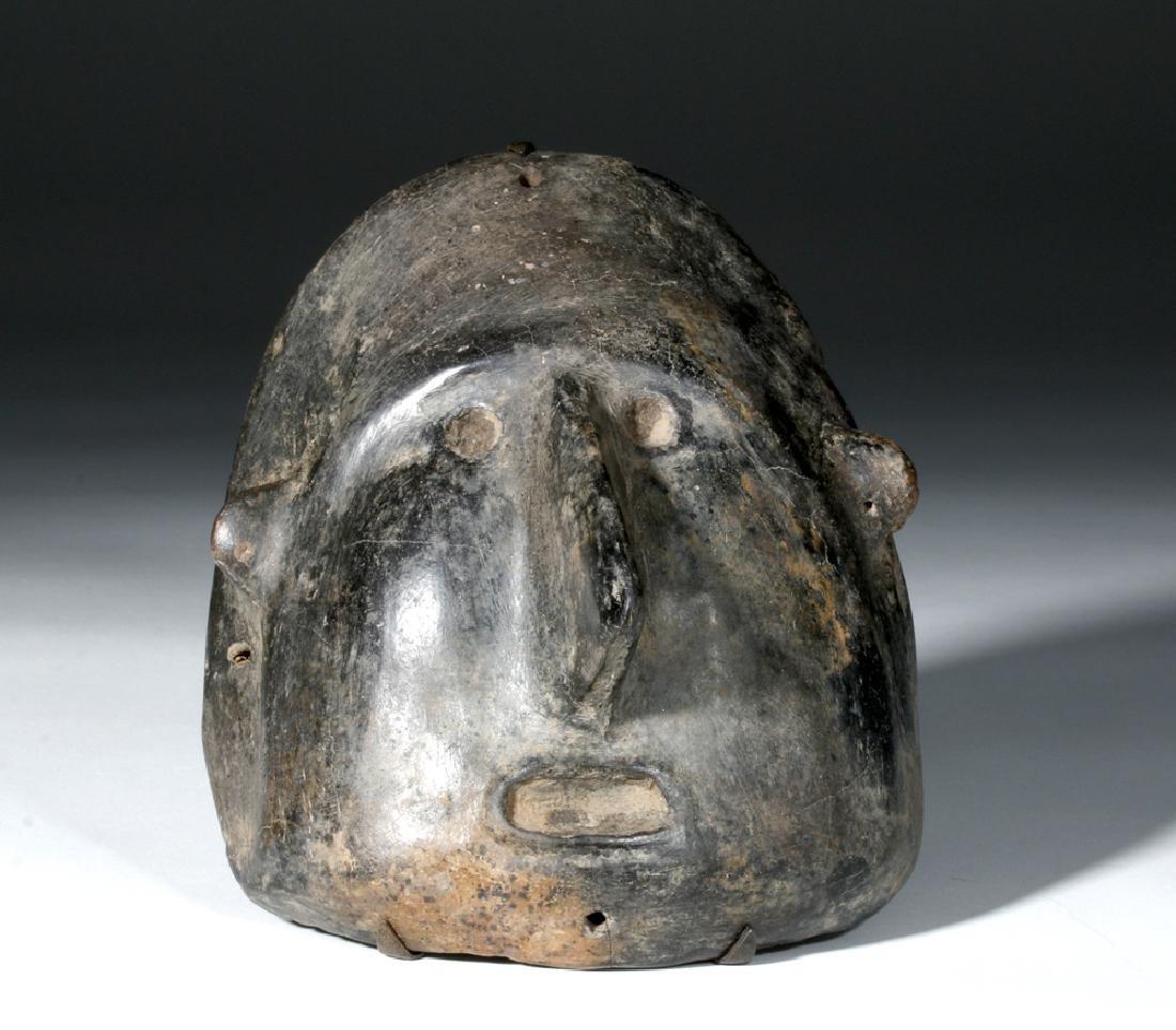 Colima Blackware Mummy Mask Vessel