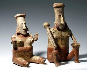 Jalisco Polychrome Male + Female Figures, Matched Pair!