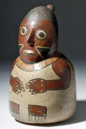 Nazca Polychrome Spouted Vessel - Seated Man