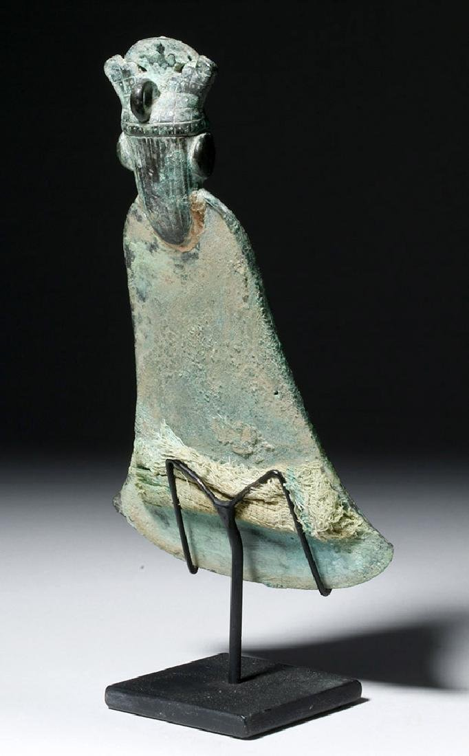 Moche Copper Tumi w/ Stone, Shell Inlay Eyes - 3