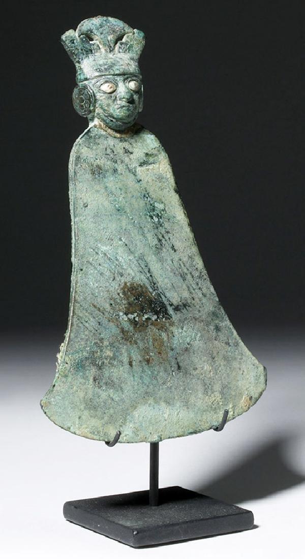 Moche Copper Tumi w/ Stone, Shell Inlay Eyes - 4