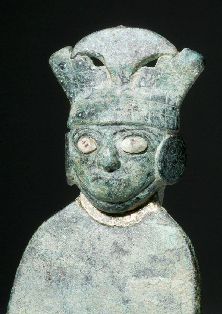 Moche Copper Tumi w/ Stone, Shell Inlay Eyes - 5