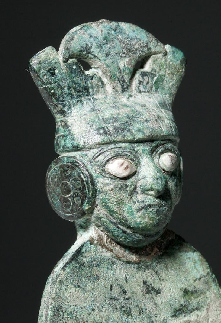 Moche Copper Tumi w/ Stone, Shell Inlay Eyes - 6