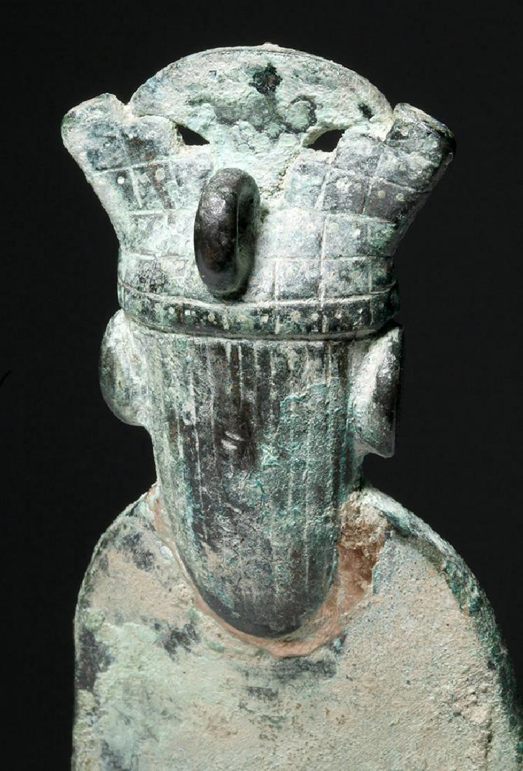 Moche Copper Tumi w/ Stone, Shell Inlay Eyes - 7