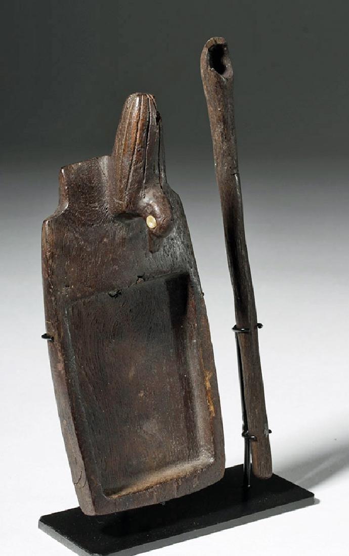 Huari Wood Drug Palette + Wood Spoon - 4