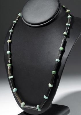 Custom Necklace w/ Ancient Mixtec Black & Green Stones