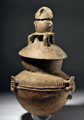 Huge Rio Magdalena Pottery Two-Piece Funerary Urn