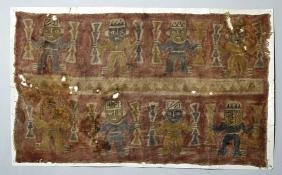 Large Chimu Painted Textile Panel w/ Warriors