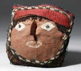 Chancay False Head Mask - Woven Textiles and Wood