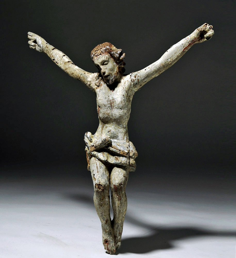 Imposing 18th C. Mexican Painted Wood Cristo