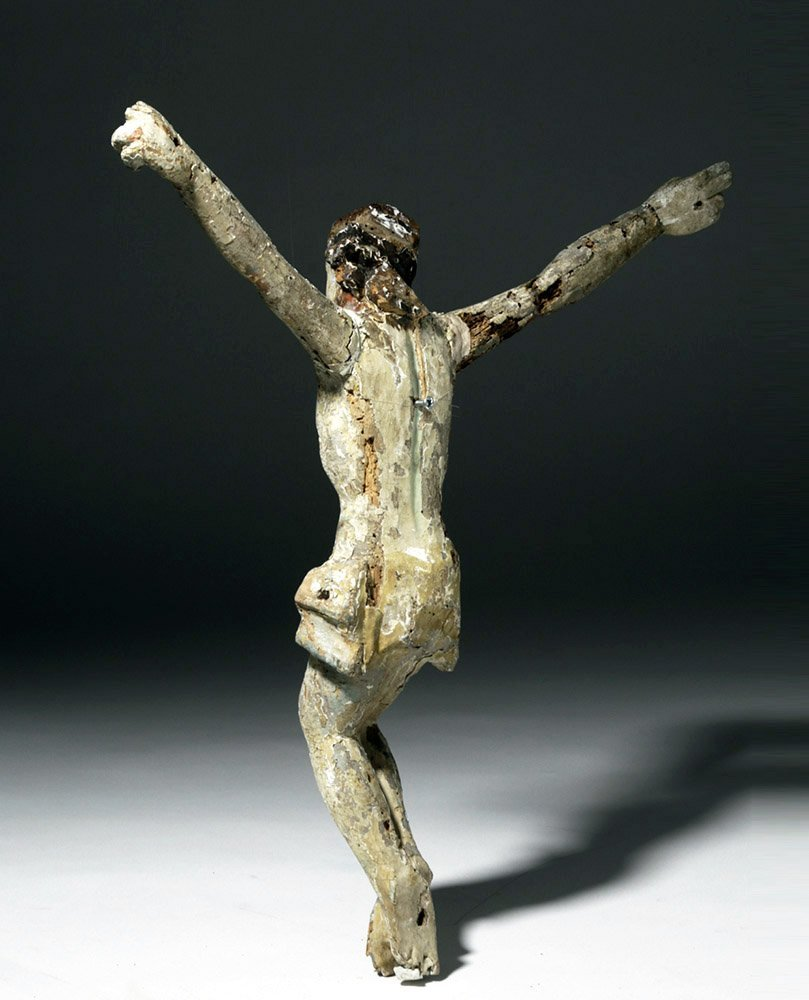 Imposing 18th C. Mexican Painted Wood Cristo - 4