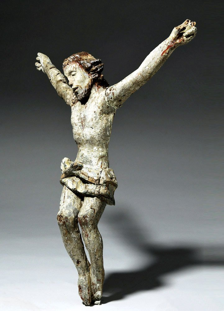 Imposing 18th C. Mexican Painted Wood Cristo - 5