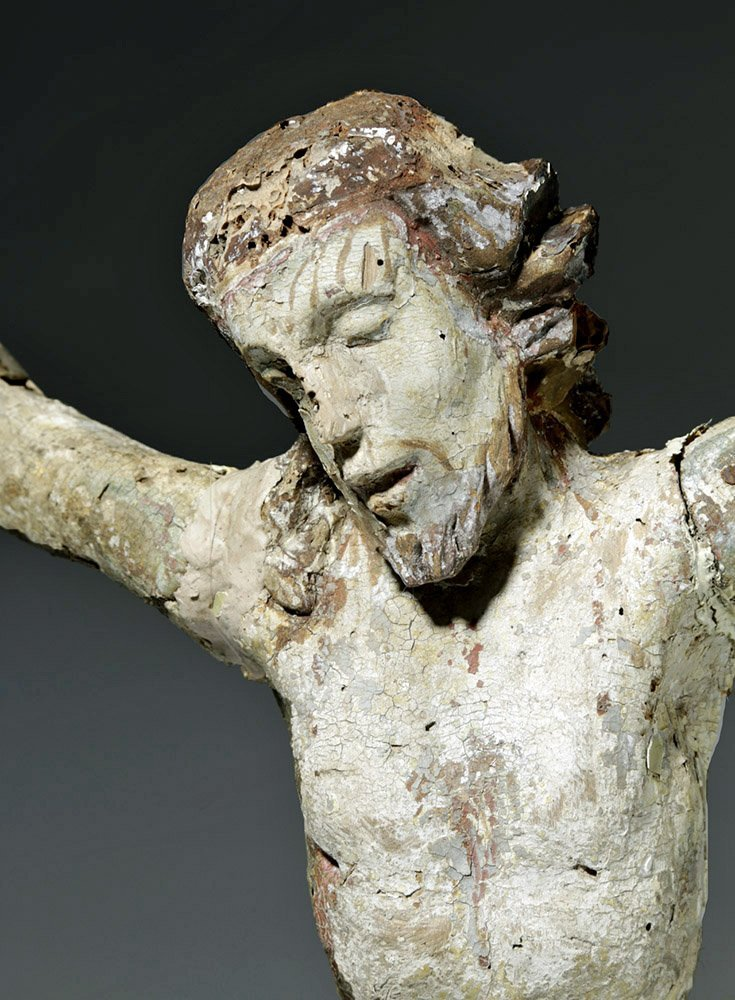 Imposing 18th C. Mexican Painted Wood Cristo - 6