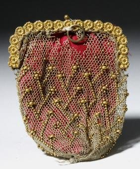 19th C. Mexican Coin Purse 9K+ Gold Beads, ex-Historia