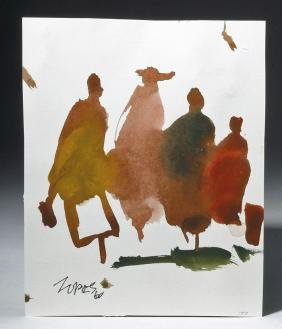 1960s Double-Sided Figural Watercolor, M. Zornes