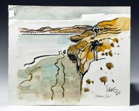 Signed 1964 Watercolor / Ink - Coastal View, M. Zornes