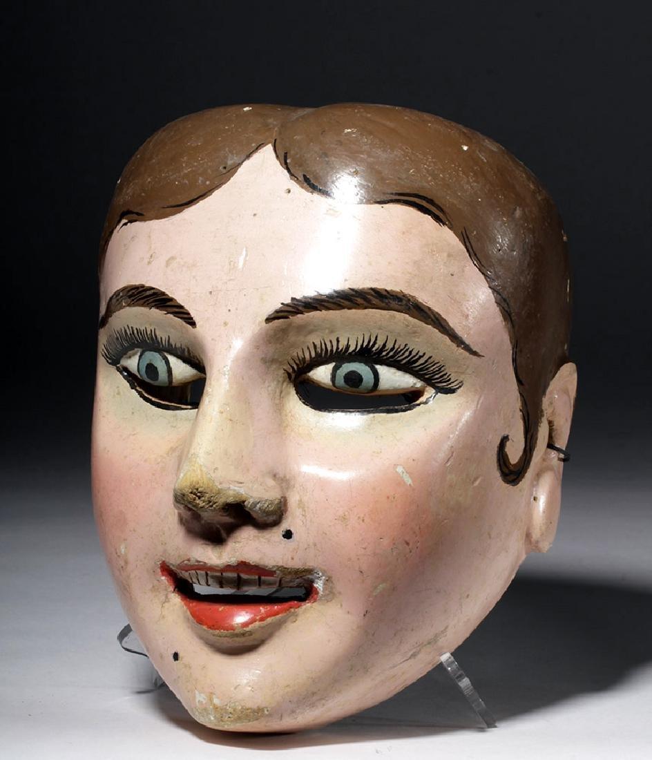 20th C. Guatemalan Painted Wood Festival Mask