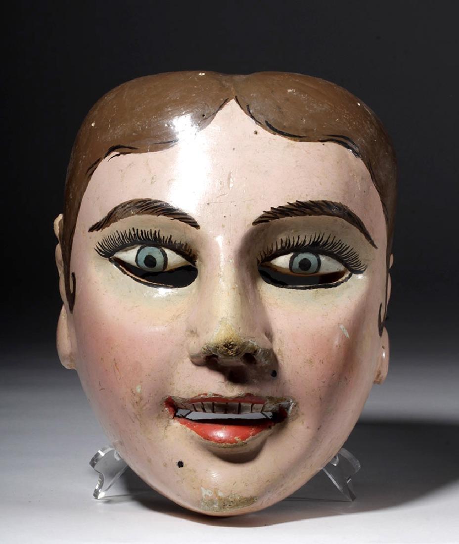 20th C. Guatemalan Painted Wood Festival Mask - 2