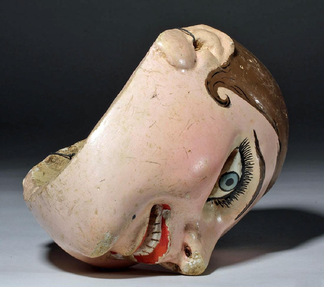 20th C. Guatemalan Painted Wood Festival Mask - 7