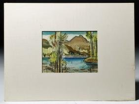 "1986 Milford Zornes Watercolor ""Lake in the Mountains"""
