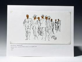 "Signed 1986 Watercolor / Ink ""Crowd"" - Milford Zornes"