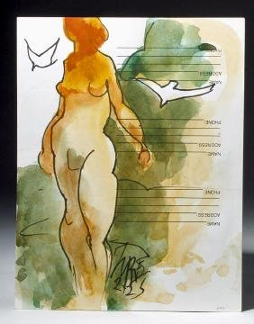 Signed Milford Zornes Watercolor / Ink - Nude at Beach