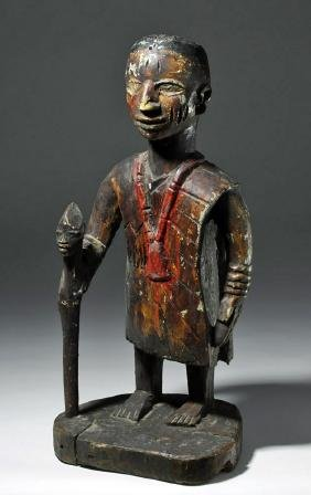 Early 20th C. Yoruba Painted Wood Figure of Priest