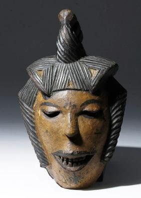20th C. African Ibibio Painted Wood  Gela Mask