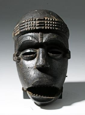 20th C. African Ibibio Wood Face Mask - Articulated Jaw