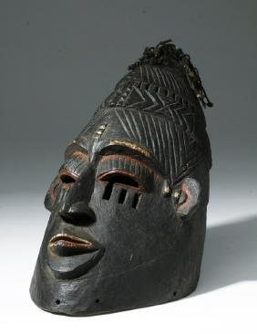 Early 20th C. African Igala Wood Helmet Mask