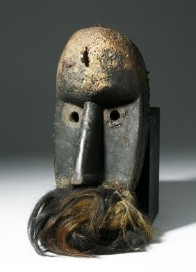 Early 20th C. African Loma Wood Landai Mask - Hair
