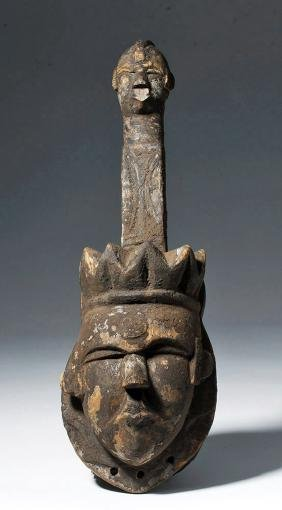 20th C. Nigeria Ogoni Wood Dance Mask with Face Crown
