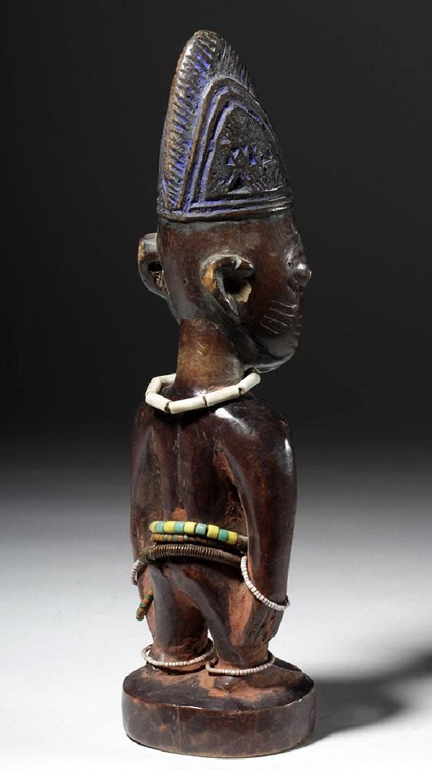 Early 20th C. African Ibeji Male Twin Wood Figure - 3