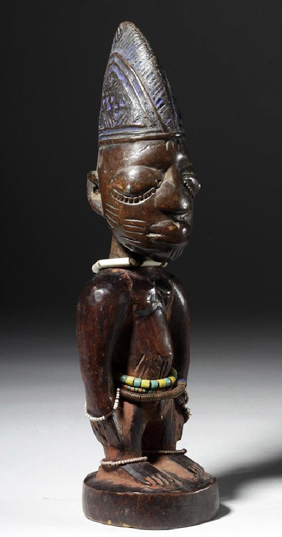 Early 20th C. African Ibeji Male Twin Wood Figure - 4