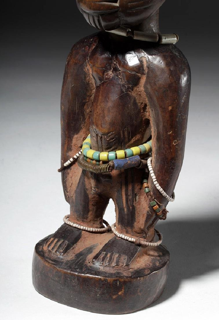 Early 20th C. African Ibeji Male Twin Wood Figure - 6