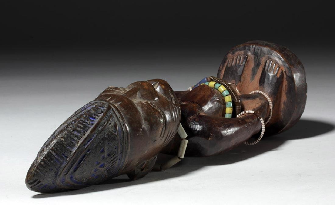 Early 20th C. African Ibeji Male Twin Wood Figure - 8